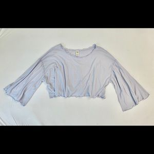 We The Free M Cropped Lavender Long-Sleeve Shirt